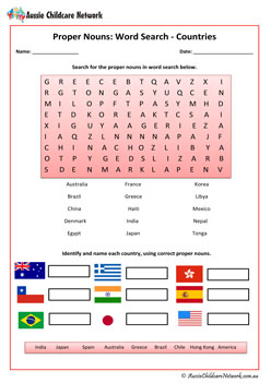 Proper Nouns Countries Worksheet