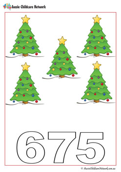 Xmas Trees Number Worksheets