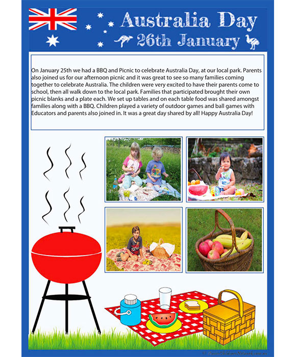 australia day picnic learning story template aussie childcare