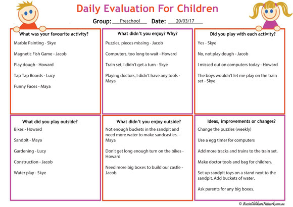 daily evaluation for children reflections template aussie