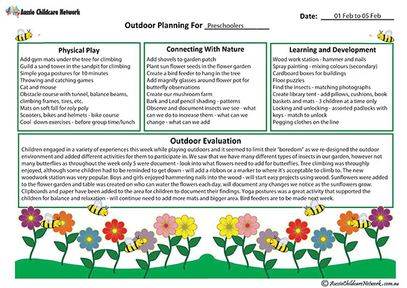 Outdoor Curriculum Planning Template  Aussie Childcare Network