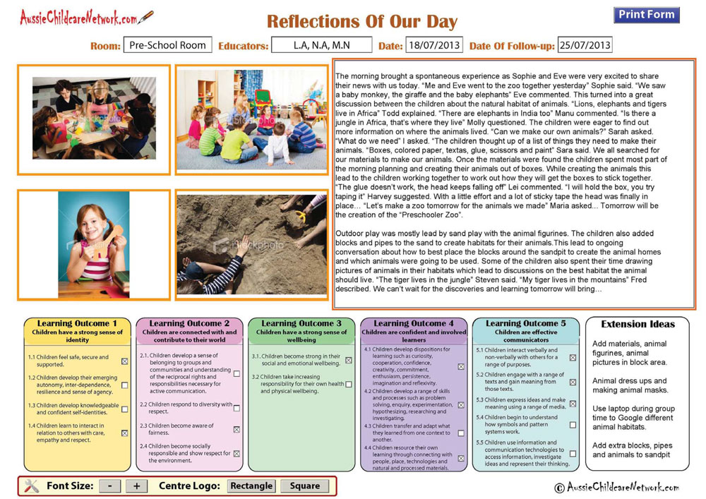 example of reflection in childcare