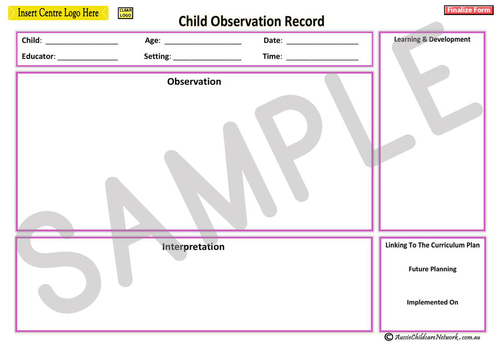 how to write observations in childcare