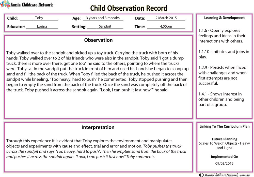 anecdotal assessment template - anecdotal record aussie childcare network