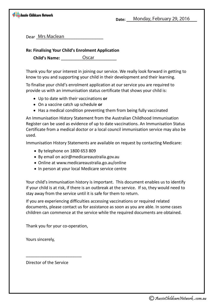 Vaccination letter aussie childcare network vaccination letter forms and checklists yelopaper Gallery