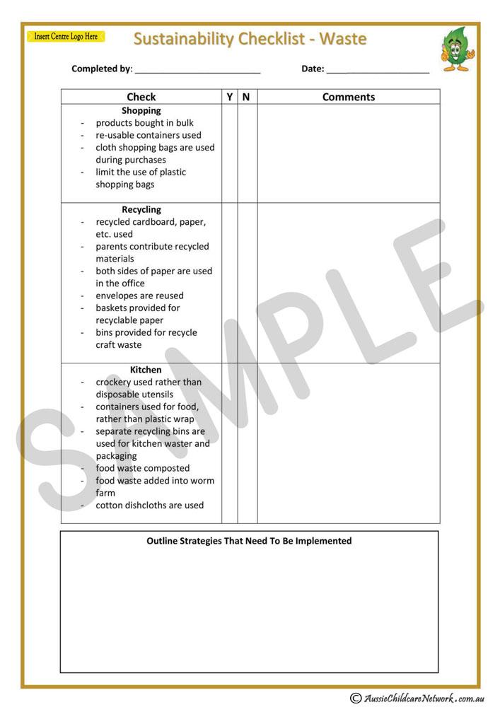 sustainability checklist - waste