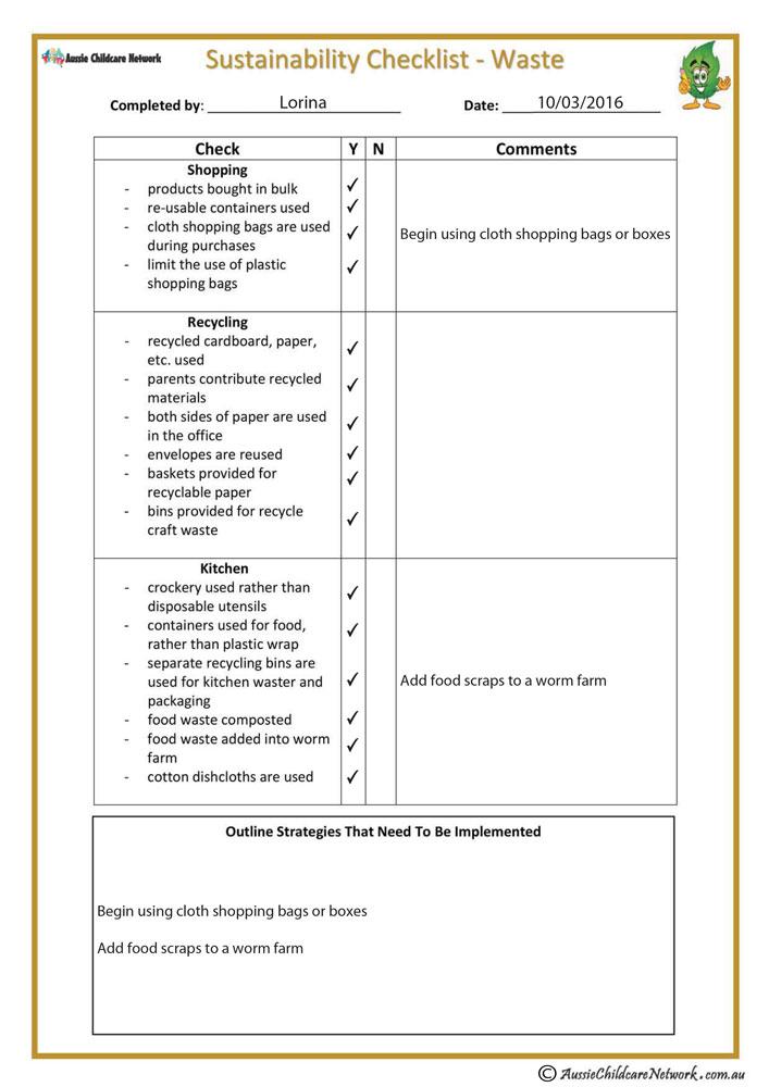 Sustainability checklist waste aussie childcare network sustainability checklist waste forms and checklists maxwellsz