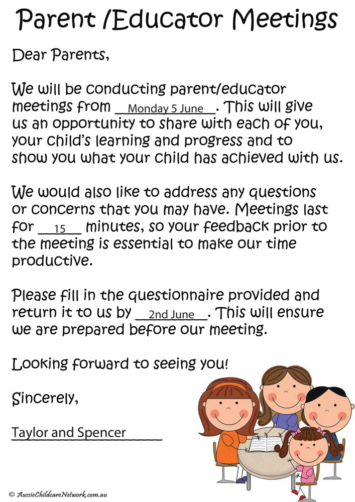 parent meeting templates