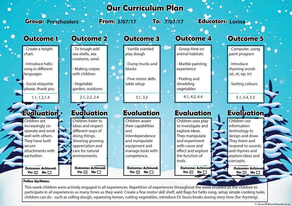 winter curriculum plan