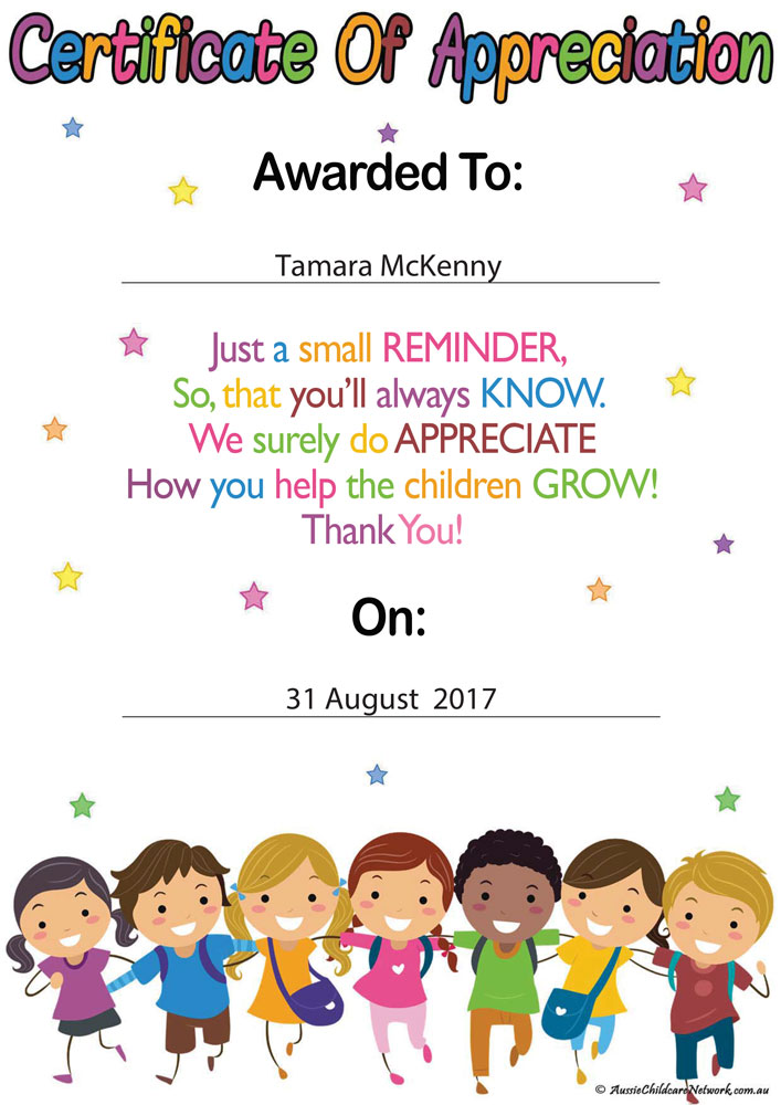 Educators certificate of appreciation aussie childcare network educators certificate of appreciation forms and checklists yadclub Choice Image