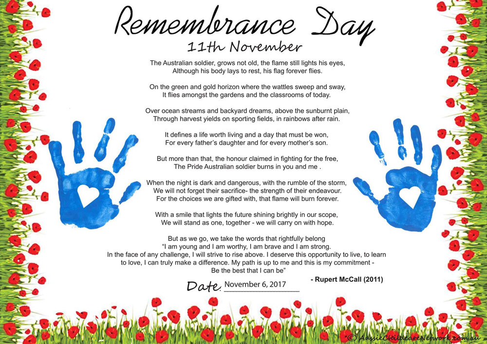 Remembrance Day Poem Aussie Childcare Network