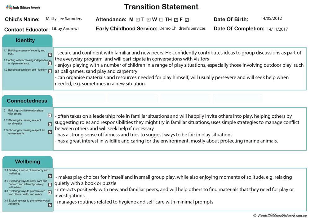 transition statement qld aussie childcare network