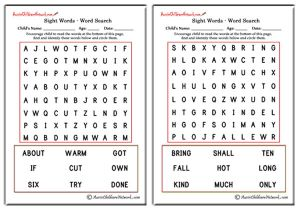 Third Grade Sight Word Search