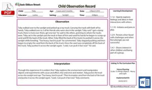 Child Obs Anecdotal Record Template
