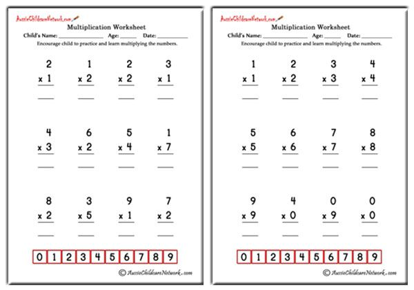 multiplication worksheets  aussie childcare network single digit simple multiplication worksheets