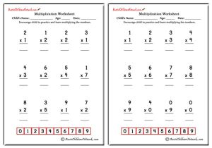 Single Digit Simple Multiplication Worksheets