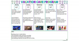 Vacation Care Program Template