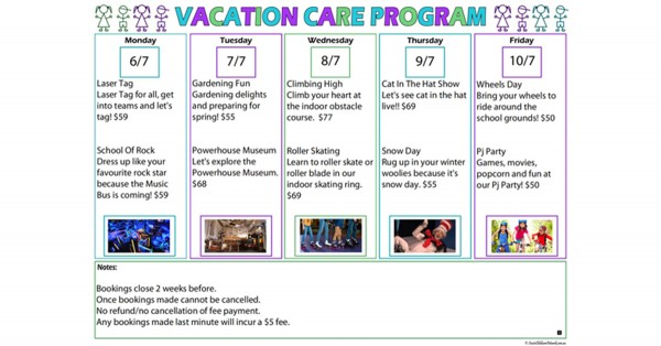 Vacation Care Program Template Aussie Childcare Network