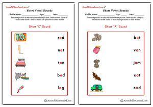 Short Vowel Sounds Matching Pictures