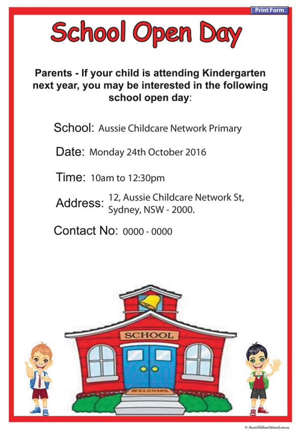 open day school poster