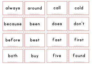 Dolch Flashcards - Second Grade Sight Words