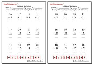Double Digit Addition Worksheets (with No Carrying)