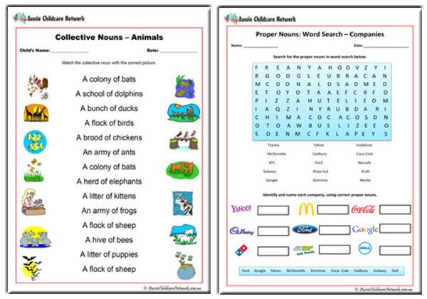 noun worksheets aussie childcare network. Black Bedroom Furniture Sets. Home Design Ideas