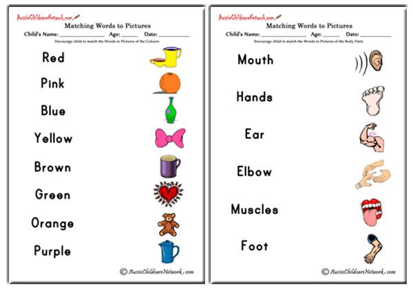 Blank Word Matching Worksheet : Matching words to pictures aussie childcare network