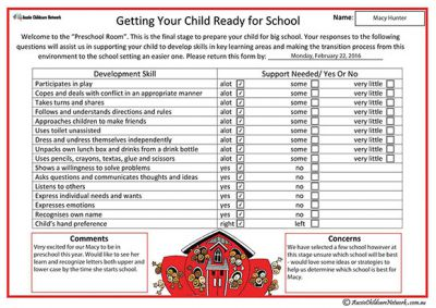 Child Ready For School Parent Input Form