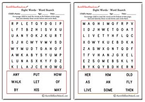 First Grade Sight Word Search