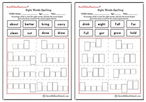 Third Grade Sight Words Shapes and Spellings