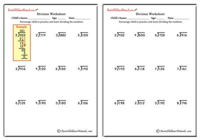 Division Worksheets 2 digit by 1 digit division worksheets : Division Worksheets - Aussie Childcare Network