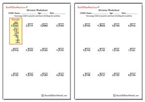 Long Division Worksheets (with and without Remainders)