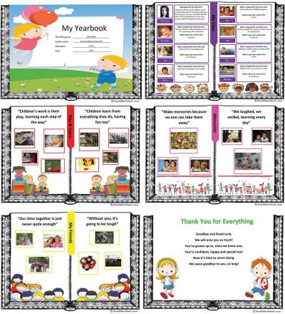 My yearbook end of year template aussie childcare network for Templates for yearbook pages