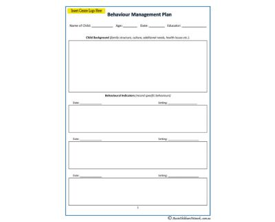Behaviour management plan aussie childcare network for It support plan template