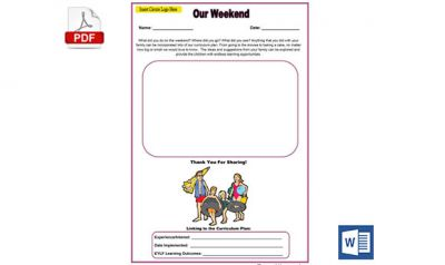 Our Weekend Family Input Template in MS Word