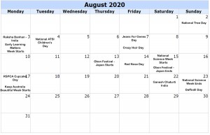 August Calendar Of Events 2020