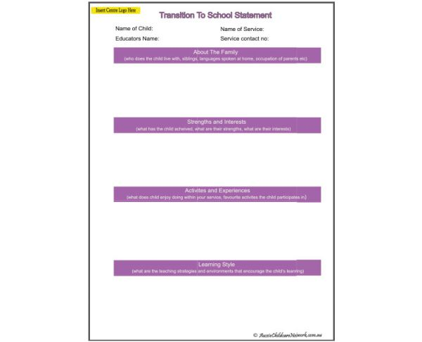 Transition To School Statement