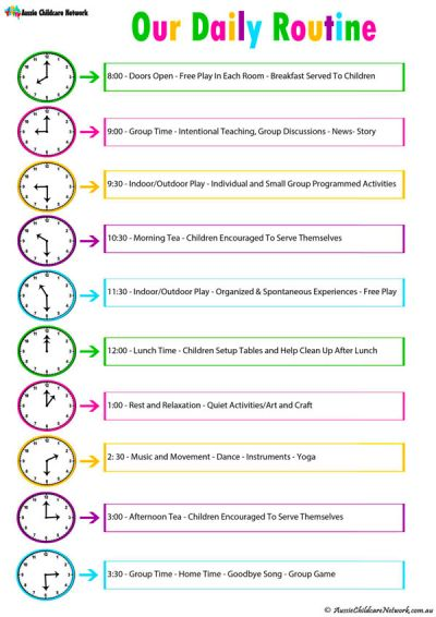 Daily Room Routine Template Aussie Childcare Network – Daily Routine Template