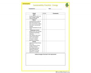 Sustainability Checklist - Energy