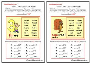 Three Letter Blends - Beginning Consonant Blends