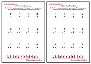 Single Digit Simple Subtraction Worksheets