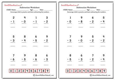 math worksheet : subtraction worksheets  aussie childcare network : Simple Subtraction Worksheets