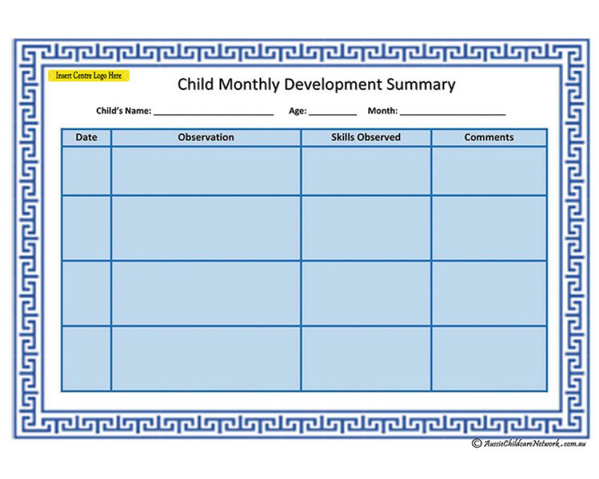 child monthly development summary