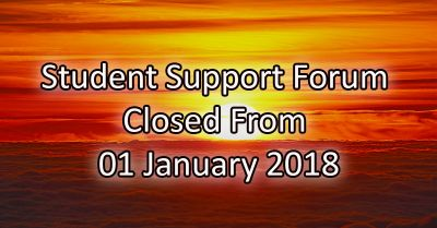 Student Support Forum Closed From January 01 2018