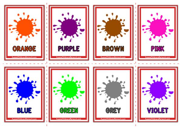 picture about Colors Flashcards Printable identify Hues Flashcards - Aussie Childcare Community