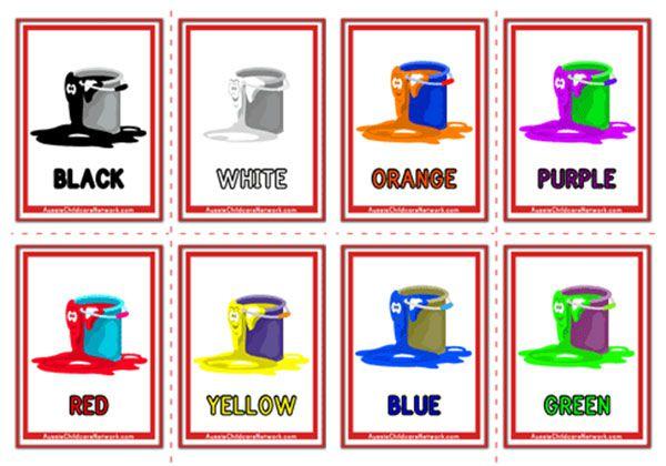 Colours Flashcards - Paint Buckets - Aussie Childcare Network