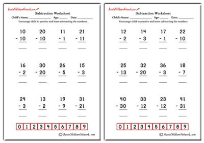 Subtraction Worksheets - Aussie Childcare Network