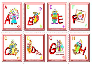 Alphabet Flashcards - Clowns Letters