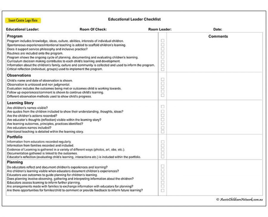 Educational Leader Checklist Aussie Childcare Network